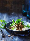 Braised beef with coconut milk and Vietnamese mint, served with rice