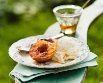 Grilled Peach with Honey and a Scoop of Peach Ice Cream