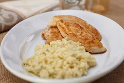 Plate of Baked Chicken Tenders with Risotto