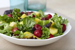 Organic Mixed Green Salad with Pineapple and Cherries