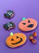 Pumpkin biscuits and spider biscuits for Halloween