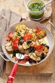 Fried potatoes with chorizo and salsa verde