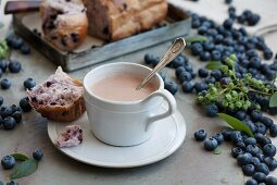 Hot chocolate with cinnamon, with a piece of sweet blueberry bread