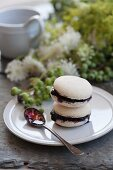 Macarons with blueberry filling