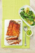 Vietnamese spiced spare ribs with grilled pak choi salad