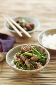 Beef with choy sum and oyster sauce