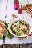 Salmon salad with pickled gherkins, fennel and mint, for a picnic
