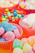 An assortment of sweets: jelly sweets, chocolate beans and marshmallows in colourful plastic bowls