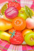 An assortment of colourful marzipan fruits