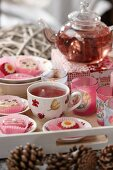 Tea and petit fours on a tray