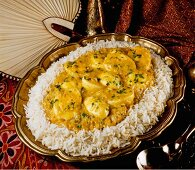 Egg curry on rice (India)