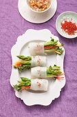 Green asparagus in rice paper