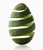 Avocado peel in avocado shape, studio shot