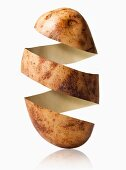 Potato peel in potato shape, studio shot