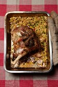 Leg of lamb with beans