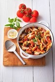 Penne with bacon and paprika