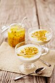 Yoghurt with passion fruit curd