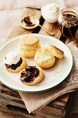 Scones with cherry and almond jam