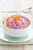 Pink somen noodles in vegetable stock
