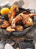 Barbecued langoustines in a bowl on the barbecue