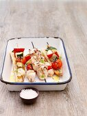 Grilled chicken-vegetable kebabs