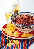 Mexican bean stew with crispy tortilla chips