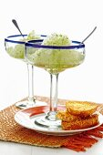 Lime and tequila granita with coconut toast