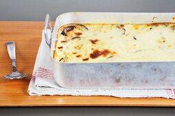 Moussaka in a baking dish