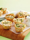 Filo pastry cases filled with tuna and vegetables