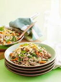 Fried rice with minced meat and vegetables