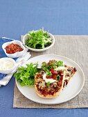 Tex Mex pide (Turkish pita pizza)