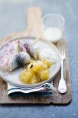 Rollmops with apple compote