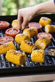 Corn on the cob being seasoned on the barbecue
