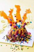 A child's birthday cake (a volcano)