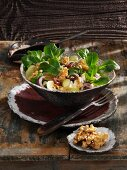 Camembert salad with grapes and walnuts