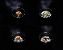 Four Assorted Japanese Donburi Bowls; On a Black Background