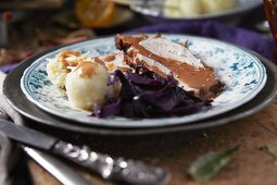 Pork loin with red cabbage and dumplings