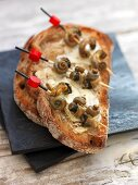 A toasted slice of bread with butter, Camembert and snails