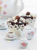 Malted chocolate fudge cupcake with white stars