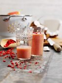 Strawberry and coconut smoothie with goji berries