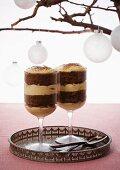 Coffee trifle with mascarpone and walnuts