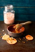 Sliced Sweet Potatoes with Pink Salt and Herbs