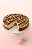 A chocolate cheesecake