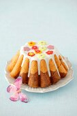Marble baba cake with sugar glaze