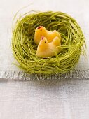 An Easter nest with fondant chicks