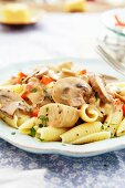 Chicken a la King with noodles, mushrooms and creamy sauce