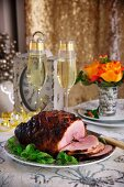 Glazed roast ham for New Year's Eve
