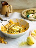 Mashed swedes with butter, chilli and herbs