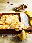 Winter vegetable gratin in a baking dish
