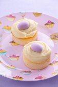 Mini cheesecakes with vanilla custard and marzipan eggs